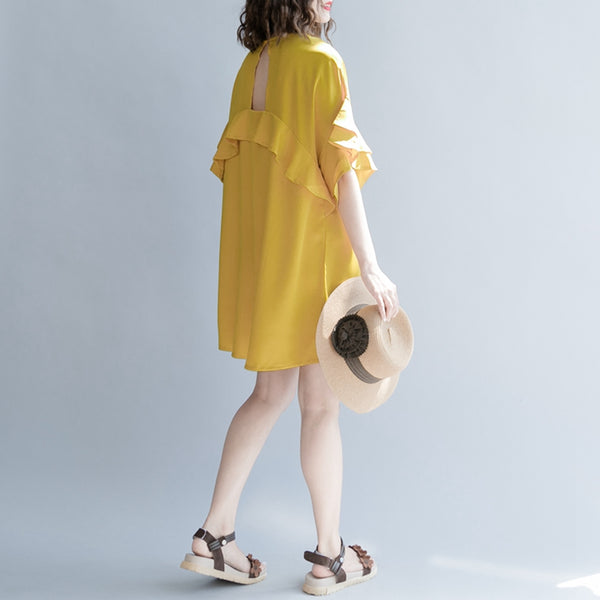 Casual Cute Short Yellow Dresses Women Fashion Clothes Q1263 - FantasyLinen