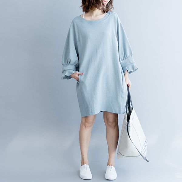 Casual Loose Cotton Shirt Dresses For Women Q2490