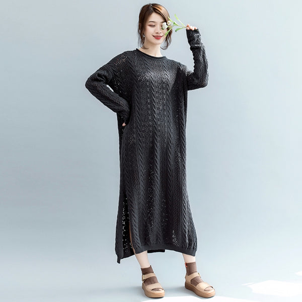 Cute Fashion Knitted Cotton Dresses Women Long Fall Clothes Q2081