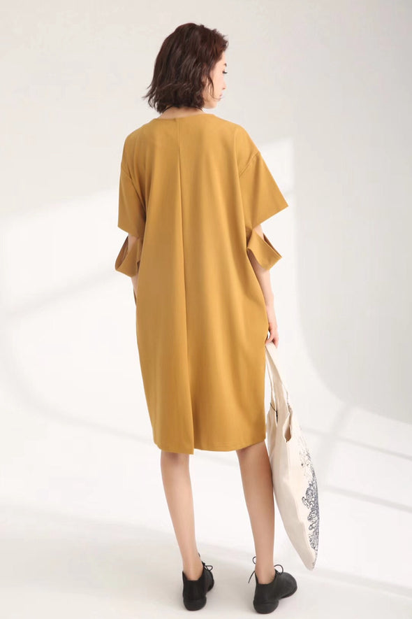 Casual Cute Cotton Dresses Women Loose Clothes 835