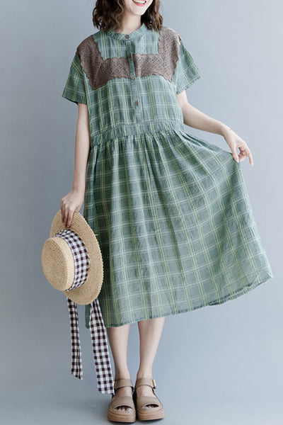 Casual Striped Green Cotton Dresses Women Vintage Clothes Q1266