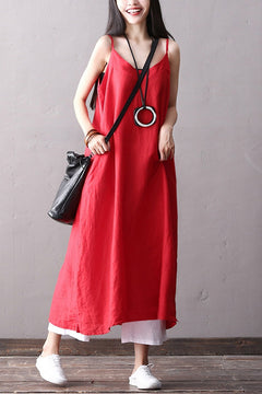 Casual Cotton Linen Maxi Sundress Women Loose Clothes Q2068