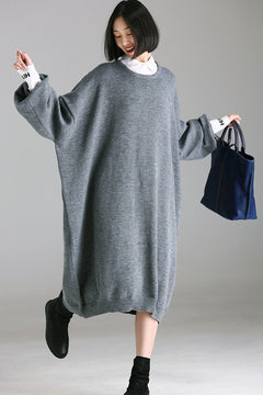 Loose Knitted Gray Maxi Dresses Women Warm Clothes Q8106