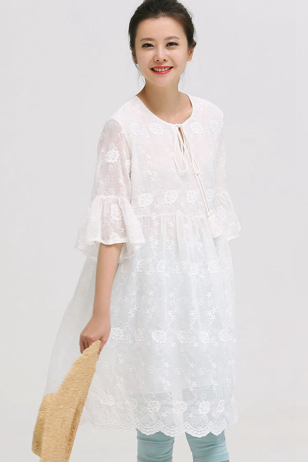 Cute Embroidery Contrast Lace Drawstring Plus Sweep Dress Q8017