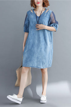 Loose Quilted Blue Denim Dresses Women Fashion Clothes Q1779
