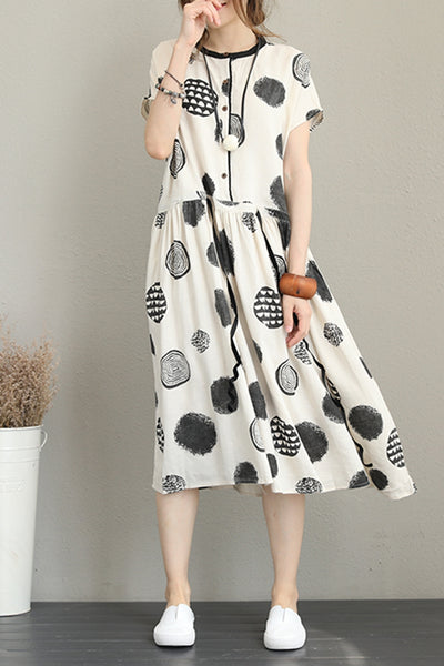 Casual Polka Dot Print Dresses Women Linen Clothes Q1210