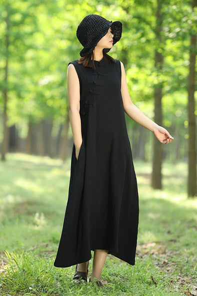 Vintage Chinese Sleeveless Button Down Long Dress Women Maxi Midi Q70511
