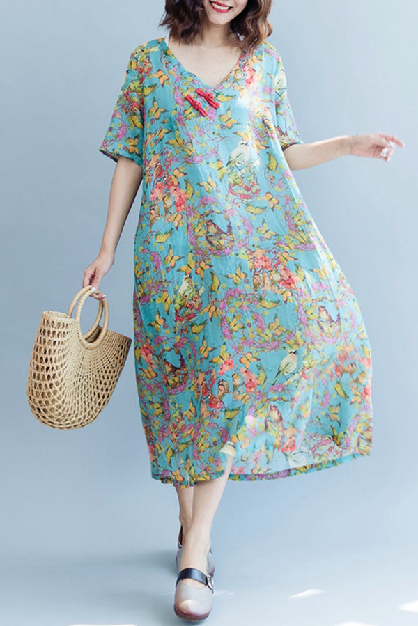 Elegant Blue Floral Maxi Dresses Linen Clothes For Women Q2074