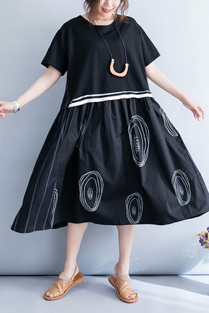Korea Style Loose Quilted Black Dress Women Plus Size Clothes Q7059