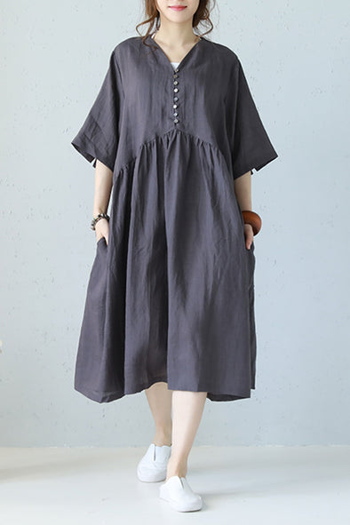 Vintage Plus Size Linen Dresses Women Loose Clothes Q1177