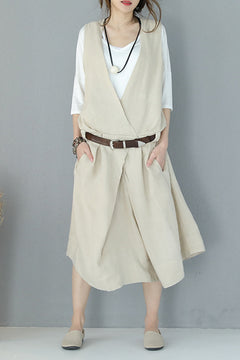 Elegant V Neck Sleeveless Linen Dress Summer Long Clothes Q883