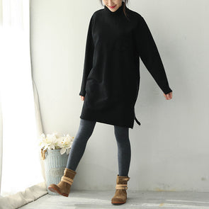 Casual Brushed Thicken Fleece Dresses Women Loose Outfits Q1963