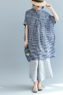 Summer Loose Bat Style Dress Linen Clothes For Women Q2564