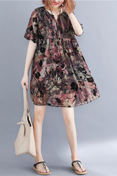 Fashion Print Chiffon Dresses Women Casual Clothes Q1778