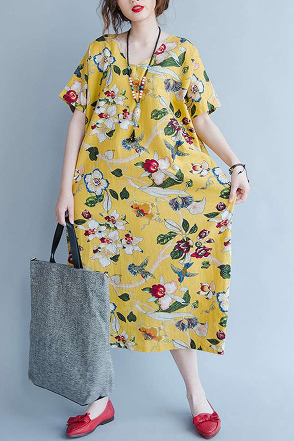 Yellow Cotton Floral Women Loose Casual Dresses Q1644 - FantasyLinen
