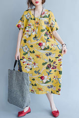 Yellow Cotton Floral Women Loose Casual Dresses Q1644