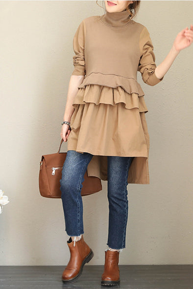 Casual High Neck Cotton Base Shirt Dresses For Women Q1689