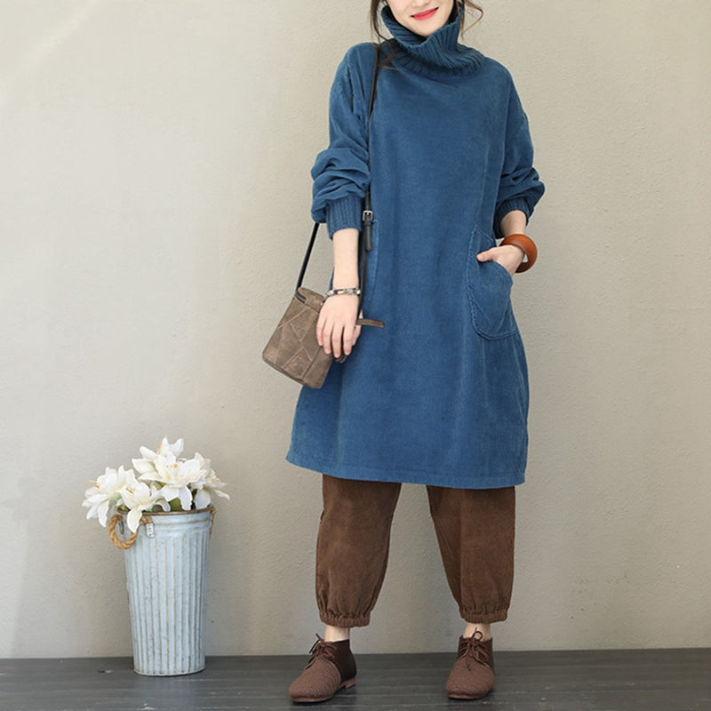Korea Style Loose Cotton Linen Dresses Women Casual Clothes Q1735