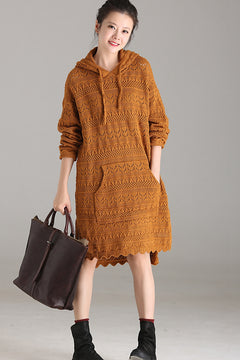 Cute Hoodie Pocket Yellow Sweater Dresses For Women M3537