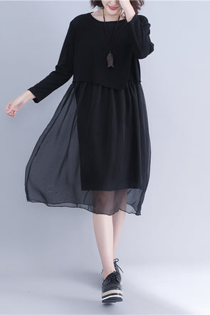 Korea Style Black Quilted Chiffon Dresses Women Fall Outfits Q3092