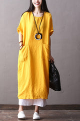 Fashion Cotton Linen Maxi Dresses Women Loose Clothes Q2062