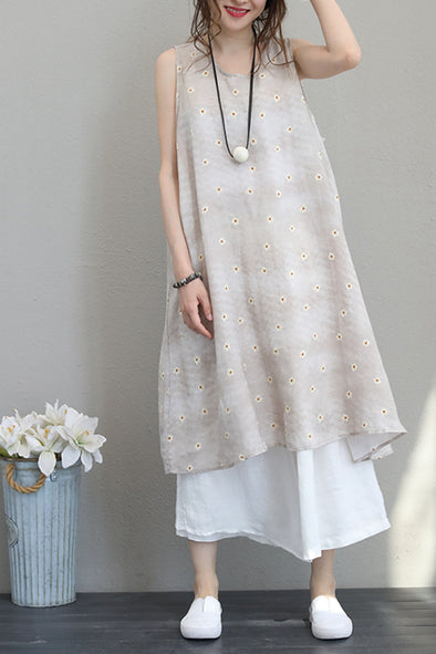 Art Sleeveless  Floral Print Dresses Linen Clothes For Women Q1197
