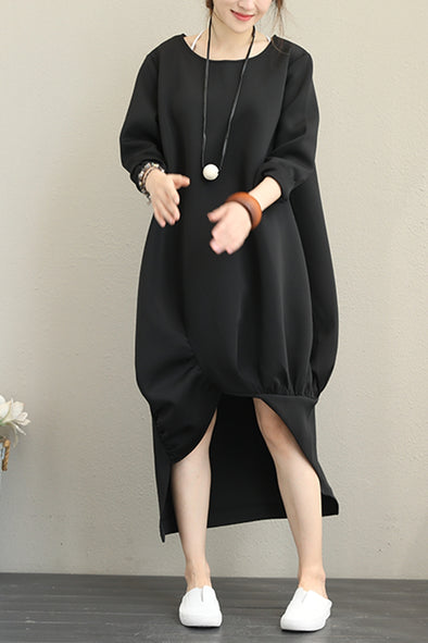 Loose Black Maxi Dress Women Outfits For Autumn Q1377