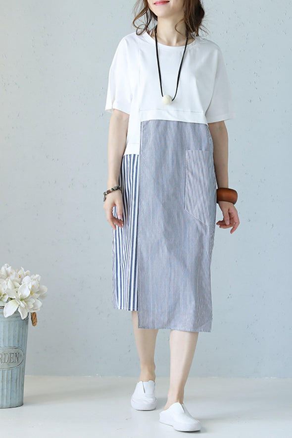 Cute Quilted Striped White Dresses Women Cotton Clothes Q1179