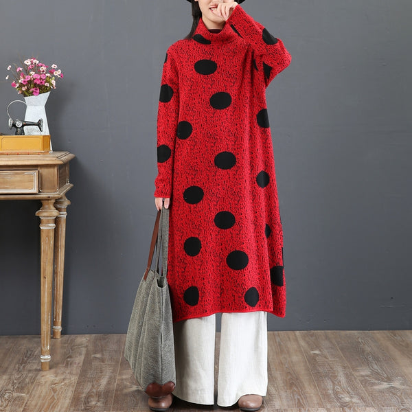 Loose High Neck Polka Dot Red Casual Sweater Dresses 5860
