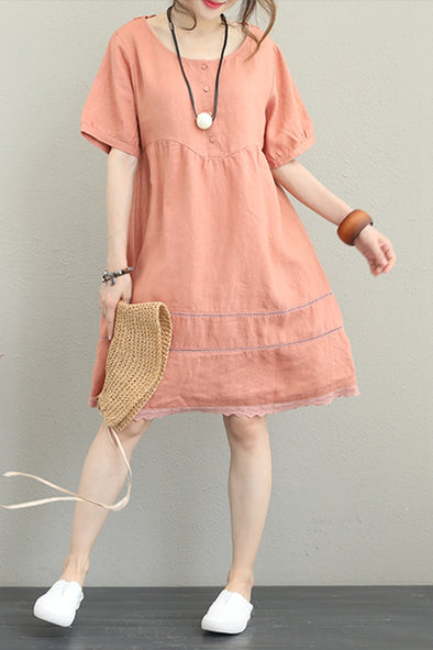 Loose Simple Linen Dresses Women Casual Outfit Q1250