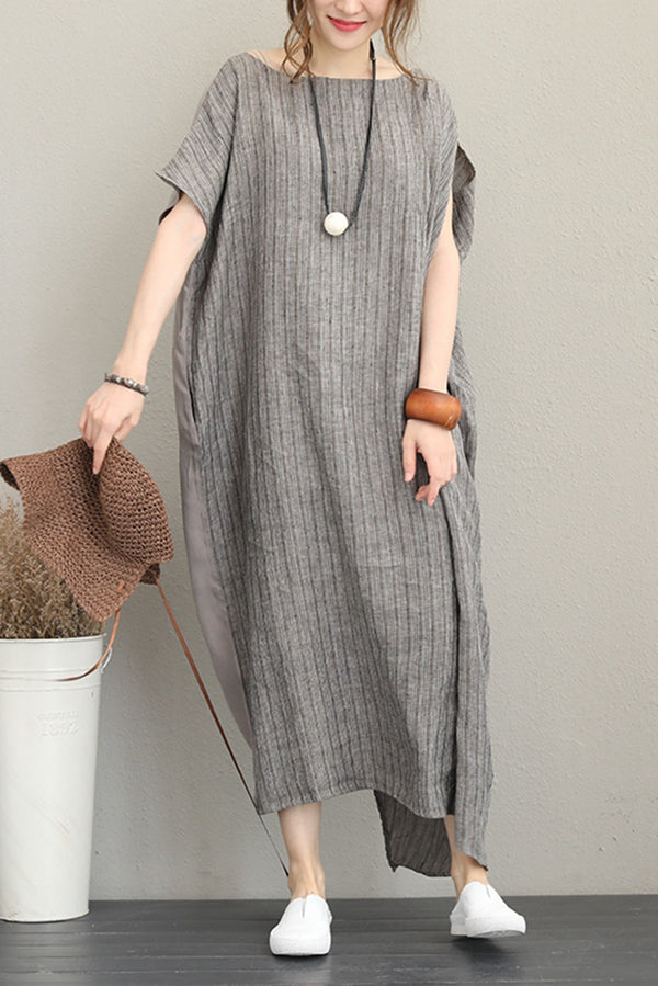 Loose Quilted Striped Maxi Dresses Women Linen Clothes Q1188