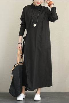 Fashion Cotton Black Maxi Dresses Women Fall Outfits Q1392