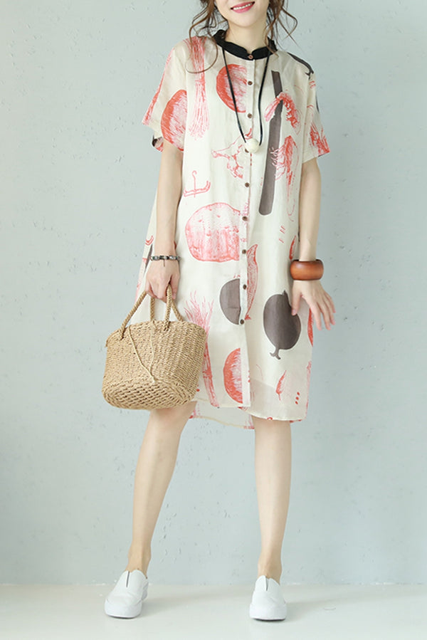 Summer Casual Button Down Printed Linen Dress Women Clothes Q1099