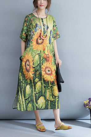 Summer Fashion Green Print Maxi Dresses Women Cotton Linen Clothes Q4074