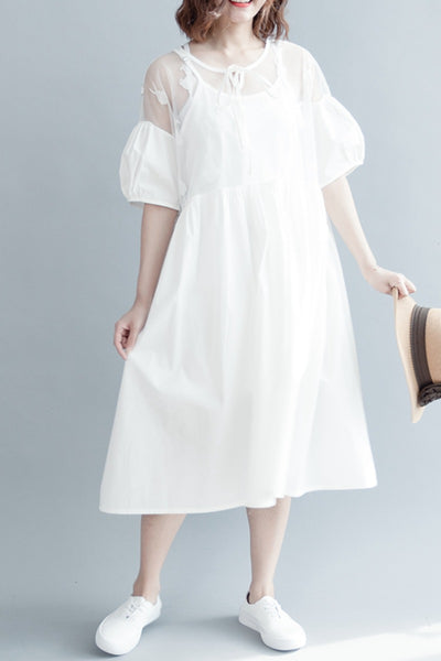 Cute Puff Sleeve White Cotton Doll Dress Q30412