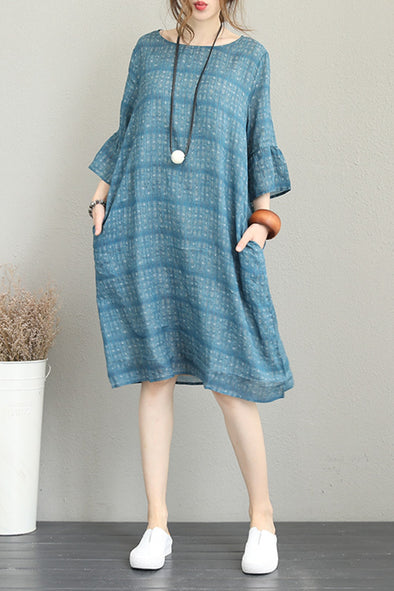 Summer Blue Print Long Dresses Linen Clothes For Women Q1219