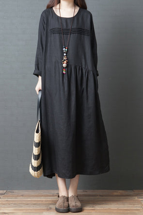 Korea Style Loose Linen Maxi Dresses For Women Q3093