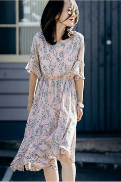 Cute Pink Floral Chiffon Dresses Women Fashion Clothes Q826