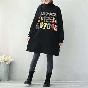 Casual Black Brushed Cotton Fleece Dresses For Women Q1937