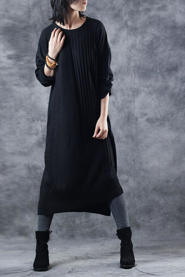 Black Fitted Knitted Sweater Maxi Dresses For Women Q2919