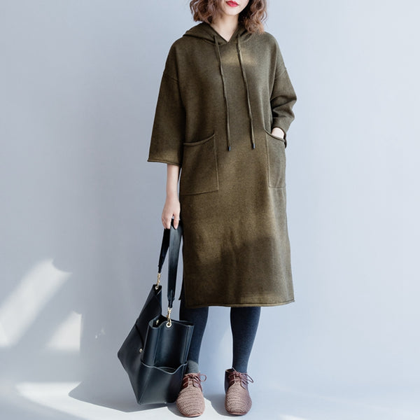 Loose Hoodie Knitted Sweater Green Casual Dresses For Women Q2317