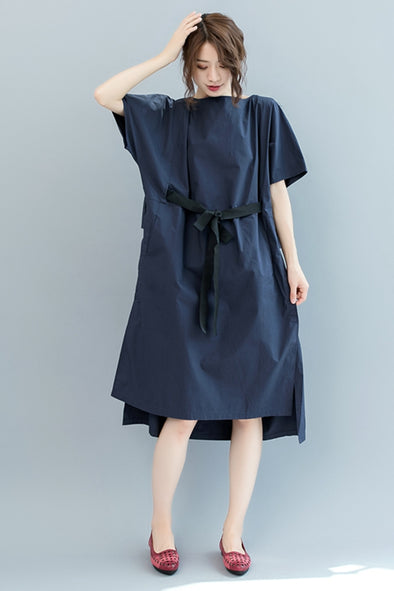 Cute Blue Cotton Long Dresses Women Casual Clothes Q2563