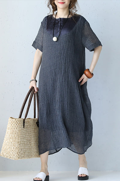 Cute Gray Linen Long Dress Women Clothes Q1058