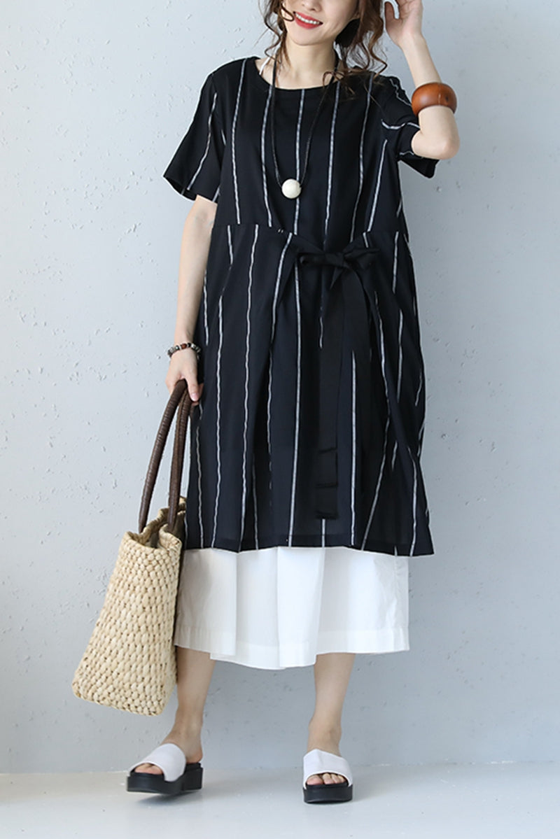 Korean Style Striped Black Cotton Silk Long Dresses Casual Loose
