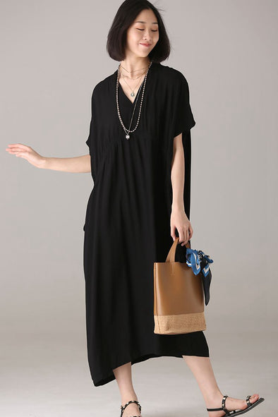 Fashion Loose Black Maxi Dresses Women Casual Clothes Q1009