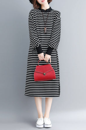 Loose Black Striped High Neck Dresses Women Fall Clothes Q3095