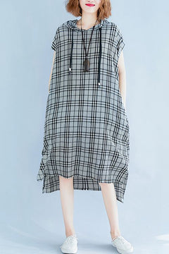 Loose Hoodie Black Plaid Dresses Women Casual Outfits Q1872
