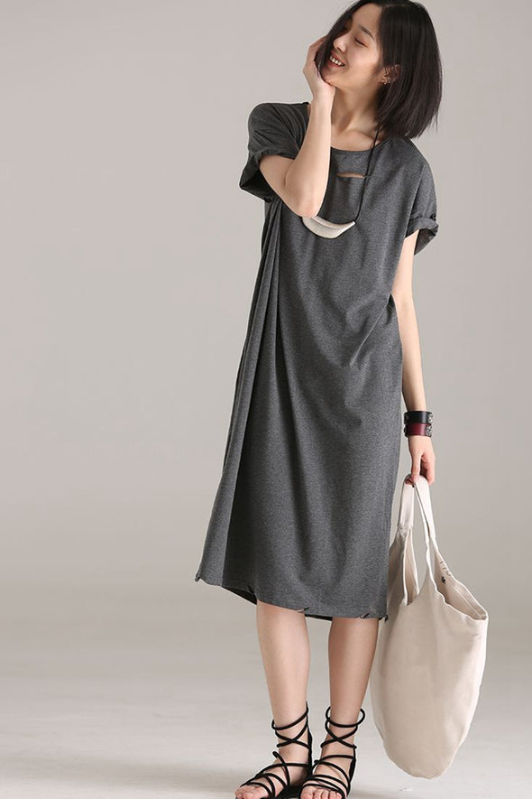 Casual Gray Long Shirt Dresses Women Cotton Clothes Q1270