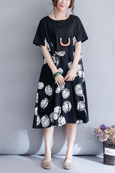 Vintage Black Print Dresses Women Cotton Clothes Q3078