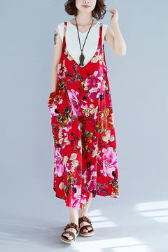 Vintage Red Floral Long Sundresses Women Loose Clothes Q1966